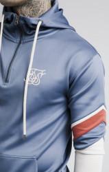 SIK SILK Pánska modrá mikina s kapucňou SikSilk Sprint Quarter Zip Overhead Farba: Modrá,Navy, #1