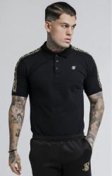 SIK SILK Pánska polokošeľa SikSilk S/S Cartel Grandad Collar Shirt - Black & Gold