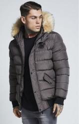 SIK SILK Pánska šedá zimná bunda SikSilk Parachute Jacket