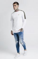 SIK SILK Pánske biele tričko s dlhým rukávom SikSilk Cartel Gym Tee #2