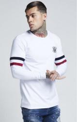 SIK SILK Pánske biele tričko s dlhým rukávom SikSilk Tournament Tee