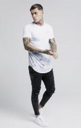 SIK SILK Pánske biele tričko s krátkym rukávom SikSilk Marbleise Curved Hem Fade Farba: Biela, #2