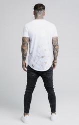 SIK SILK Pánske biele tričko s krátkym rukávom SikSilk Marbleise Curved Hem Fade Farba: Biela, #3