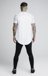 SIK SILK Pánske biele tričko s krátkym rukávom SikSilk Marbleise Raglan Curved Hem Farba: Biela, #3