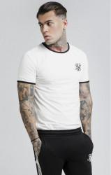 SIK SILK Pánske biele tričko SikSilk S/S Bound Ringer Gym Tee