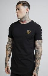 SIK SILK Pánske čierne tričko s krátkym tričkom SikSilk Lurex Gold Tape Farba: Čierna,