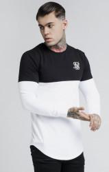 SIK SILK Pánske čierno-biele tričko s dlhým rukávom SikSilk Cut and Sew L/S Gym