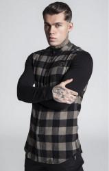 SIK SILK Pánske kárované khaki tričko s dlhým rukávom SikSilk Contrast Tartan