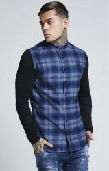 SIK SILK Pánske kárované modré tričko s dlhým rukávom SikSilk Contrast Tartan