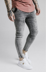 SIK SILK Pánske rifle SikSilk Twisted Skinny Denims - Snow Wash
