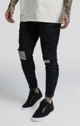 SIK SILK Pánske rifle SikSilk Vintage Burst Knee Denims - Blue