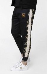 SIK SILK Pánske tepláky SikSilk Black Edition Polly Cuffed Pants - Black, White & Gold