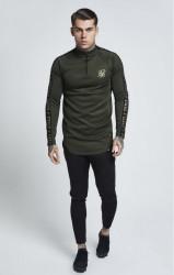 SIK SILK Pánske tričko s dlhým rukávom SikSilk L/S Athlete Training Top - Khaki #1