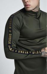 SIK SILK Pánske tričko s dlhým rukávom SikSilk L/S Athlete Training Top - Khaki #3