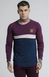 SIK SILK Pánske tričko s dlhým rukávom SikSilk L/S Sports Gym Tee - Burgundy Beige & Navy