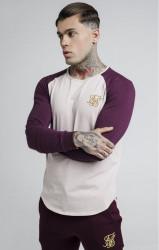 SIK SILK Pánske tričko s dlhým rukávom SikSilk Raglan Gym Tee - Burgundy & Beige