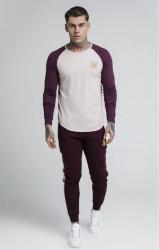 SIK SILK Pánske tričko s dlhým rukávom SikSilk Raglan Gym Tee - Burgundy & Beige #1