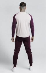 SIK SILK Pánske tričko s dlhým rukávom SikSilk Raglan Gym Tee - Burgundy & Beige #2