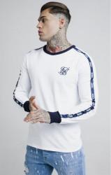 SIK SILK Pánske tričko s dlhým rukávom SikSilk Taped Contrast Cuff L/S Tee - White #1