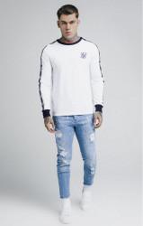 SIK SILK Pánske tričko s dlhým rukávom SikSilk Taped Contrast Cuff L/S Tee - White #2
