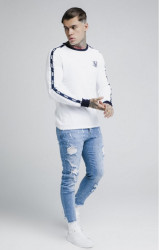 SIK SILK Pánske tričko s dlhým rukávom SikSilk Taped Contrast Cuff L/S Tee - White #3