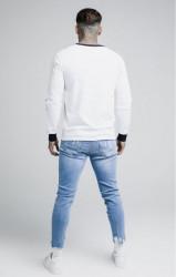 SIK SILK Pánske tričko s dlhým rukávom SikSilk Taped Contrast Cuff L/S Tee - White #4
