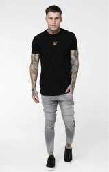 SIK SILK Pánske tričko SikSilk Central Logo Box Tee - Black