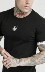 SIK SILK Pánske tričko SikSilk Central Logo Tee - Black