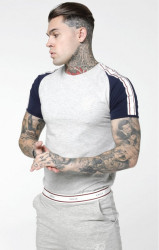 SIK SILK Pánske tričko SikSilk Raglan Taped Sports Gym Tee - Grey Marl