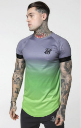 SIK SILK Pánske tričko SikSilk S/S Fade Out Tech Tee - Grey & Neon Green