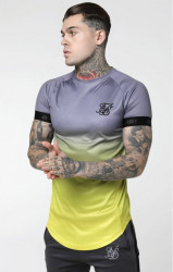 SIK SILK Pánske tričko SikSilk S/S Fade Out Tech Tee - Grey & Neon Yellow