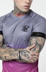 SIK SILK Pánske tričko SikSilk S/S Fade Out Tech Tee - Grey & Pink