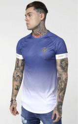 SIK SILK Pánske tričko SikSilk S/S Fade Tech Tee - Navy & White