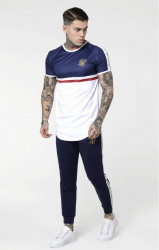 SIK SILK Pánske tričko SikSilk S/S Raglan Gym Tee - Navy, White & Red