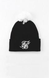 SIK SILK Unisex čierna čiapka na zimu SikSilk Cuff Knit Bobble Hat
