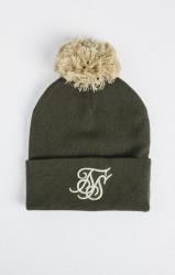 SIK SILK Unisex khaki čiapka na zimu SikSilk Cuff Knit Bobble Hat