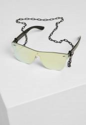 Slnečné okuliare Urban Classics 103 Chain Sunglasses black/gold mirror