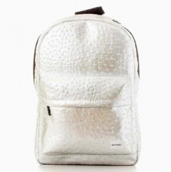 Spiral Ostrich Silver Backpack Bag - UNI