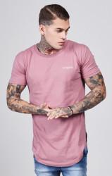 Tričko Illusive London Curved Hem Dusky Pink Farba: Ružová,