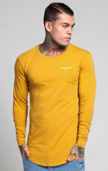Tričko Illusive London Long Sleeve Vent Mustard Farba: Žltá,