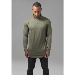 TRIČKO URBAN CLASSICS LONG SHAPED TURTLE ZIP LONGSLEEVE OLIVE