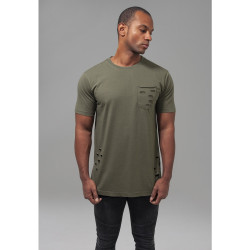 TRIČKO URBAN CLASSICS RIPPED POCKET OLIVE