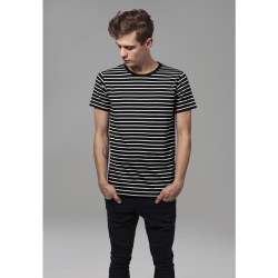 TRIČKO URBAN CLASSICS STRIPED BLACK WHITE