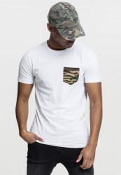 Pánske tričko URBAN CLASSICS CAMO POCKET TEE WHT/CAMO