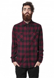 URBAN CLASSICS CHECKED FLANELL SHIRT BLACK BURGUNDY