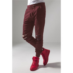 URBAN CLASSICS CUTTED TERRY PANTS BURGUNDY