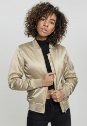 Urban CLASSICS Dámska bombera Ladies Satin Bomber Jacket gold