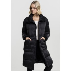 Urban CLASSICS Dámska čierna dlhá bunda s vysokým golierom Urban Clasissics