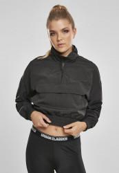 URBAN CLASSICS Dámska crop top bunda URBAN CLASSIC Ladies Cropped Crinkle Nylon Pull Over Jacket black