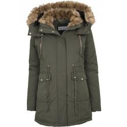 Urban CLASSICS Dámska dlhá zelená bunda s kožušinovou kapucňou